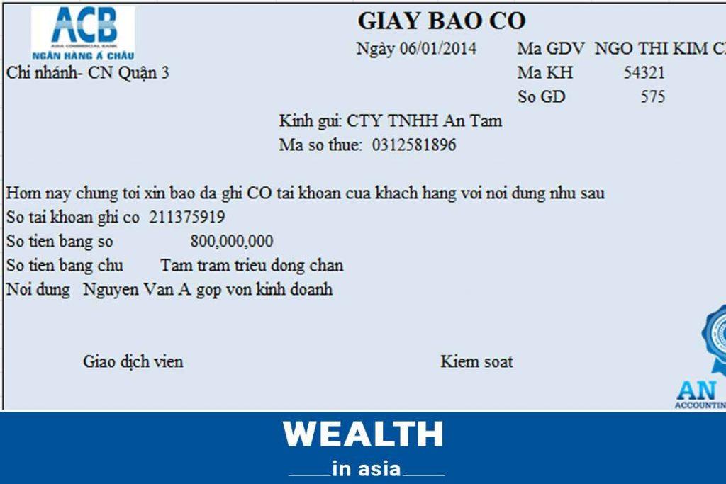 Mẫu giấy báo có của ngân hàng ACB