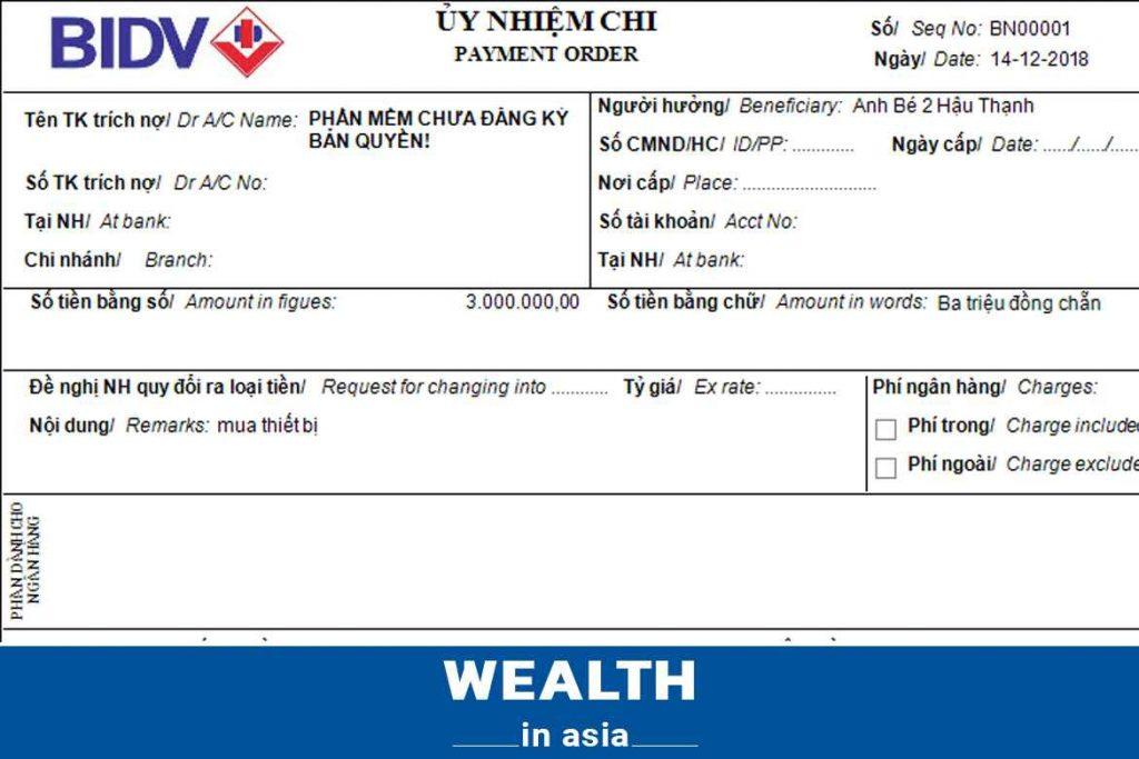 Mẫu giấy báo có của ngân hàng BIDV